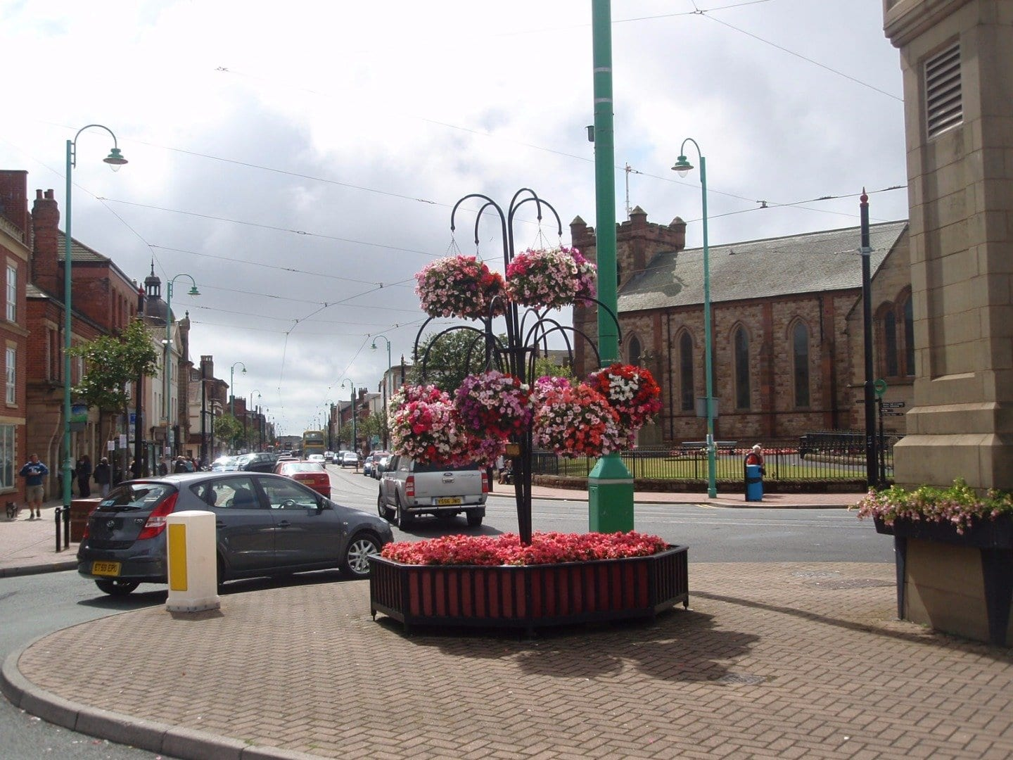 Flower baskets near Fleetwood Market on Lord Street