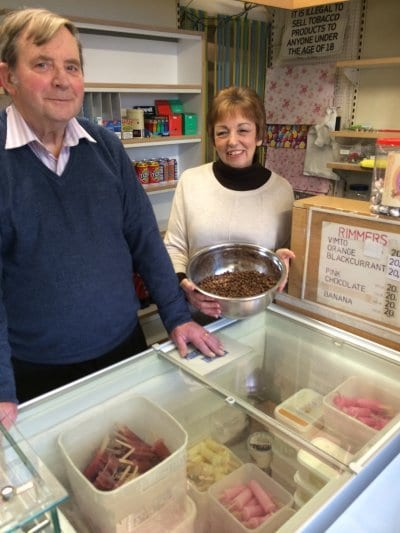Mr and Mrs Anderson with parched peas and homemade lollies at Rimmers in Fleetwood