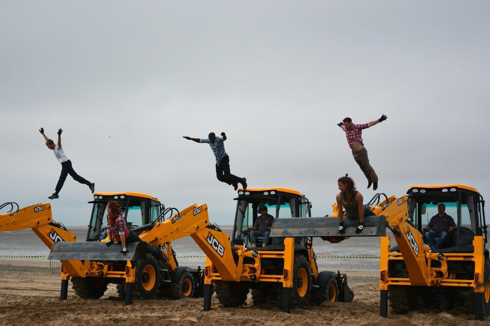 Dancing Diggers on Fleetwood beach at Tram Sunday