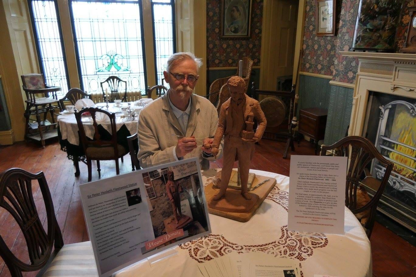 Maquette of Sir Peter Hesketh Fleetwood statue, with the sculptor at Fleetwood Museum during Fleetwood Heritage Open Days