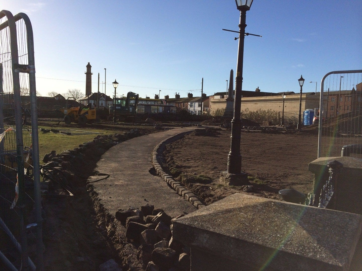 New paths laid in Euston Gardens, Fleetwood during redevelopment works in 2015